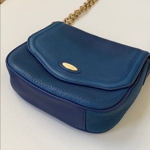 Beautiful Blue Leather Crossbody Bag
